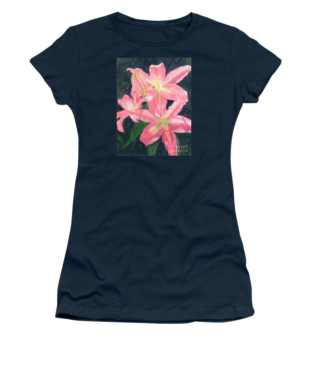 Floral Women's T-Shirt featuring the painting Sunlit Lilies by Lynn Quinn