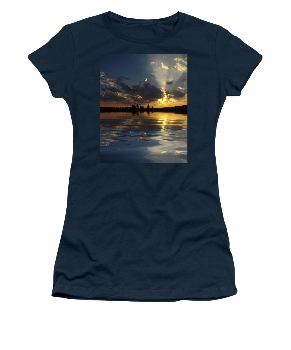 Sunset Women's T-Shirt featuring the photograph Sunray Sunset by Jerry McElroy