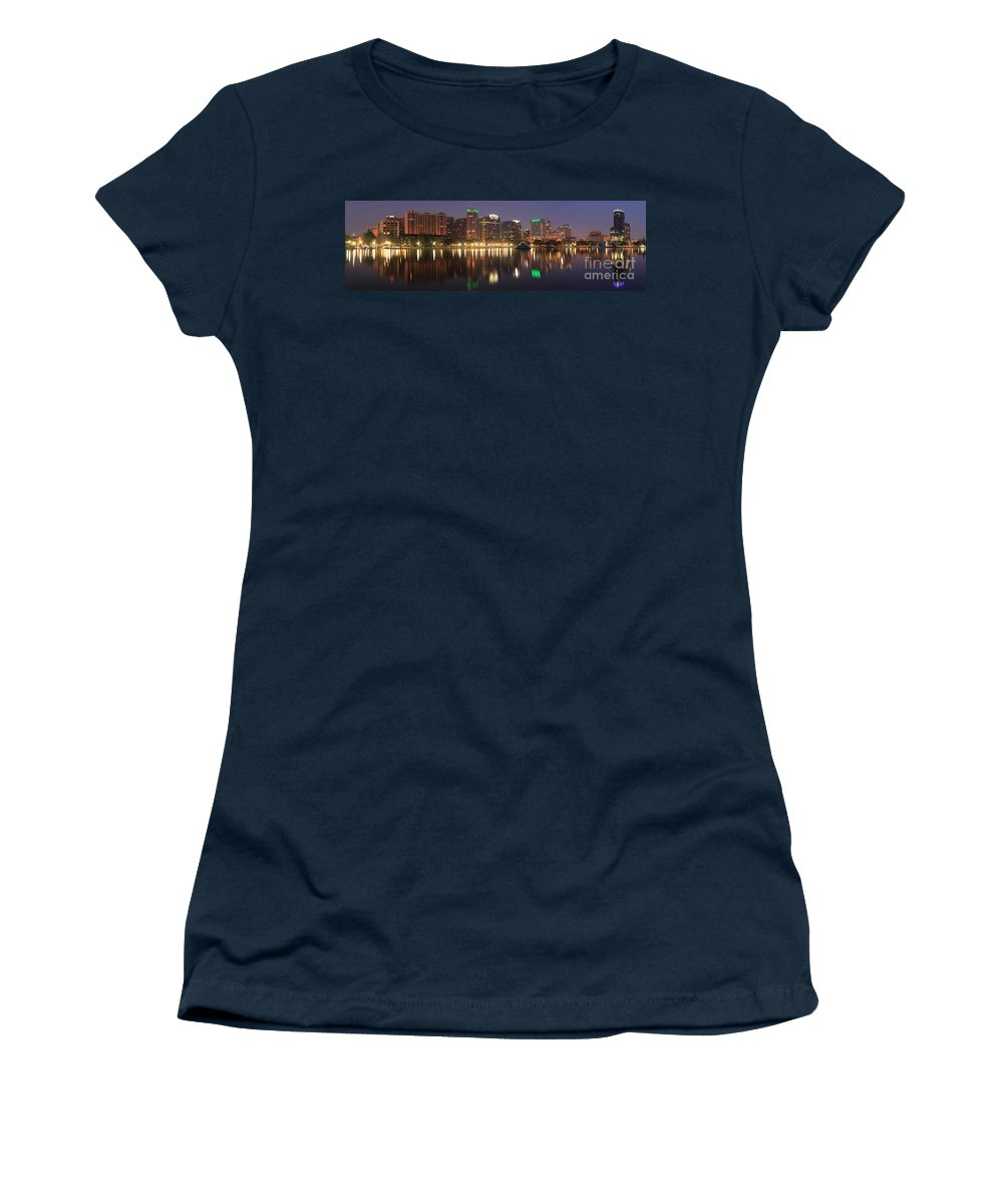Orlando Sunrise Women's T-Shirt (Athletic Fit) featuring the photograph Sunrise Over Orlando by Adam Jewell
