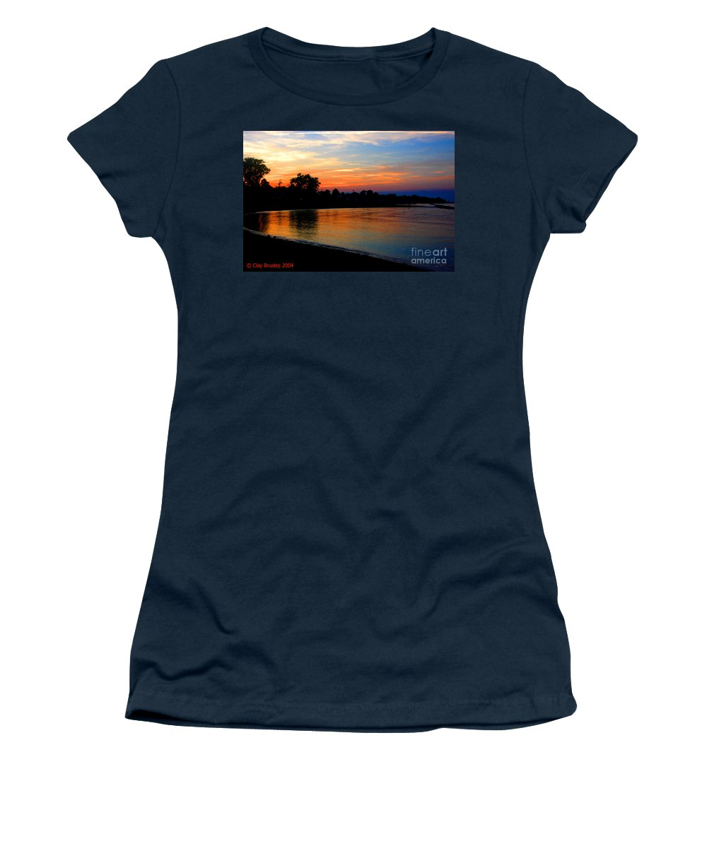 Clay Women's T-Shirt (Athletic Fit) featuring the photograph Sunset At Colonial Beach Cove by Clayton Bruster
