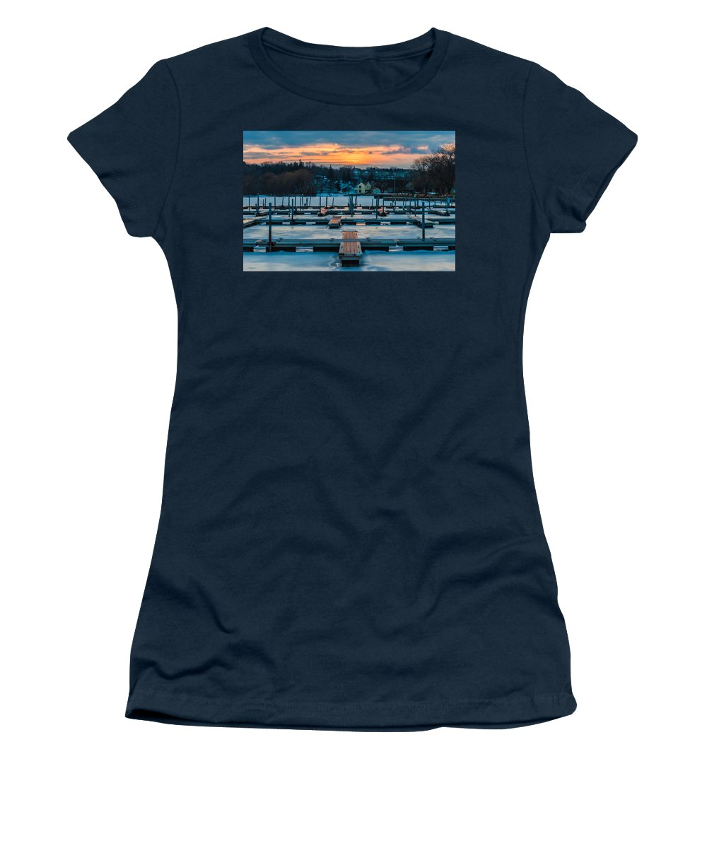 Canandaigua Women's T-Shirt (Athletic Fit) featuring the photograph Sunset At The Marina In Winter by Ray Sheley