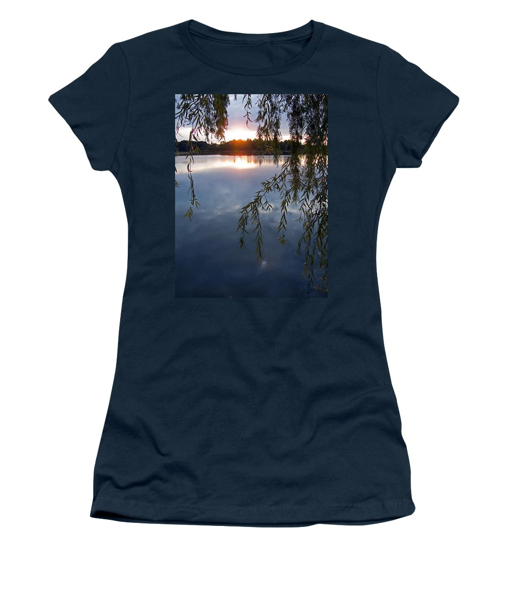 Nature Women's T-Shirt (Athletic Fit) featuring the photograph Sunset by Daniel Csoka