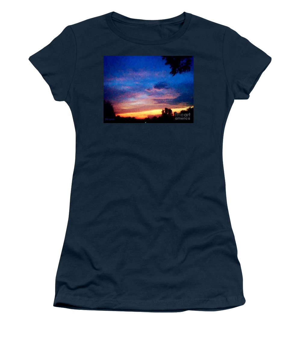 Sunset Women's T-Shirt (Athletic Fit) featuring the photograph Sunset In A Deep Blue Sky Line by Debra Lynch