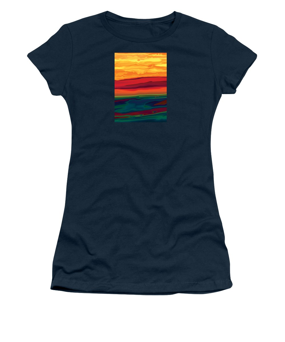 Art Women's T-Shirt (Athletic Fit) featuring the digital art Sunset In Ottawa Valley 1 by Rabi Khan