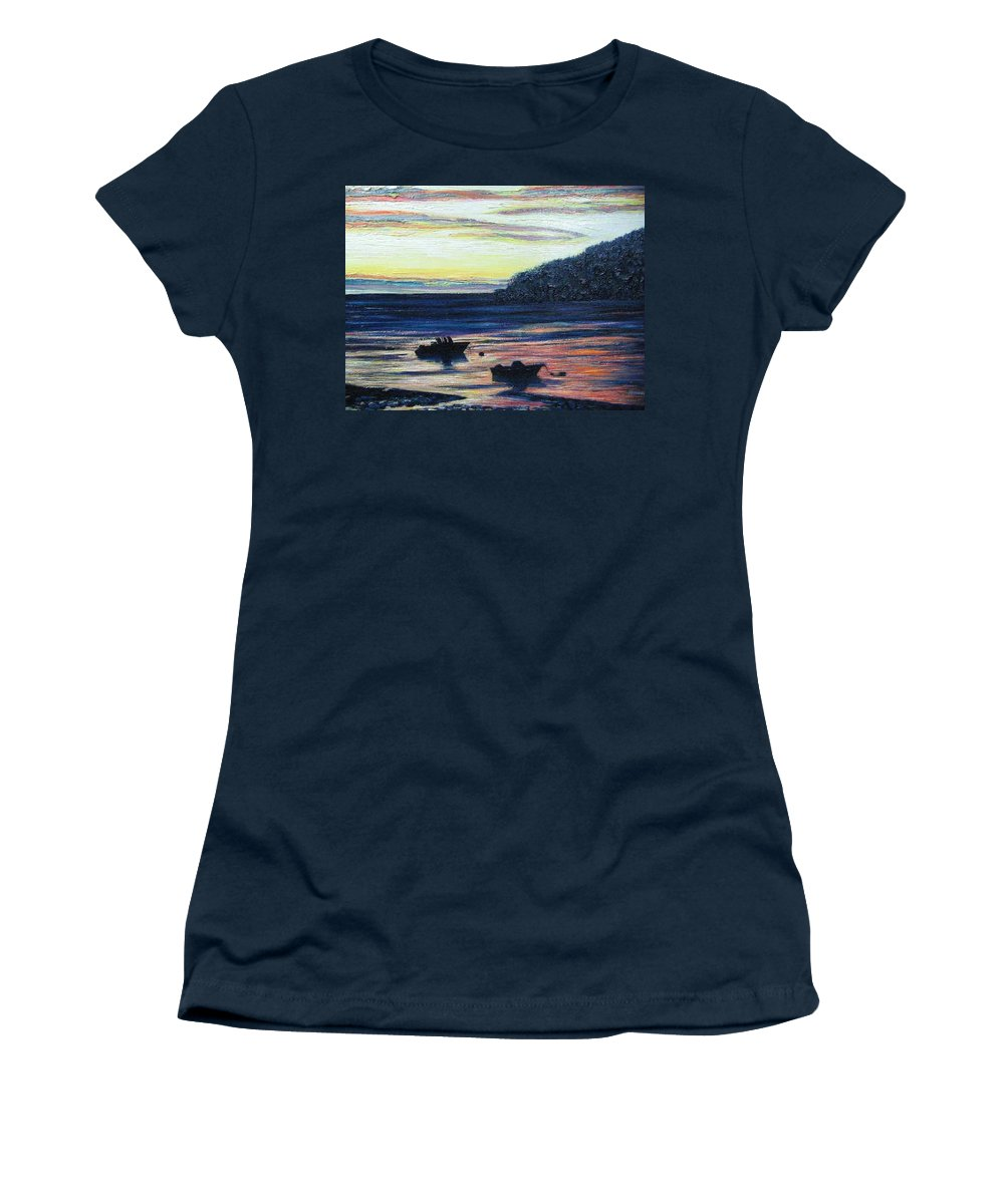 Maine Women's T-Shirt (Athletic Fit) featuring the painting Sunset On Maine Coast by Richard Nowak