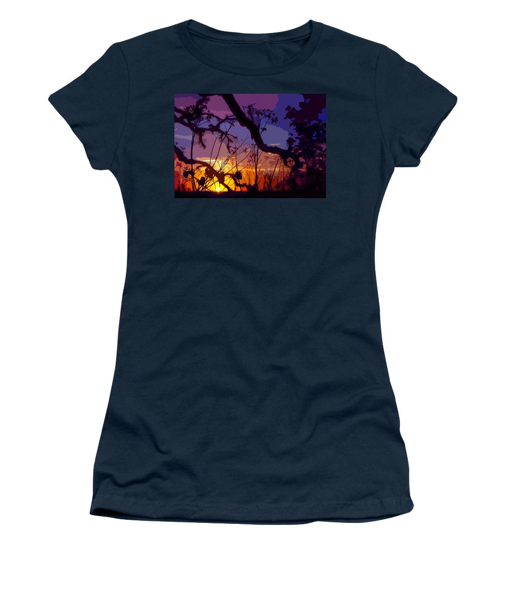 Sunset Women's T-Shirt (Athletic Fit) featuring the photograph Sunset Silhouette by Stephen Anderson