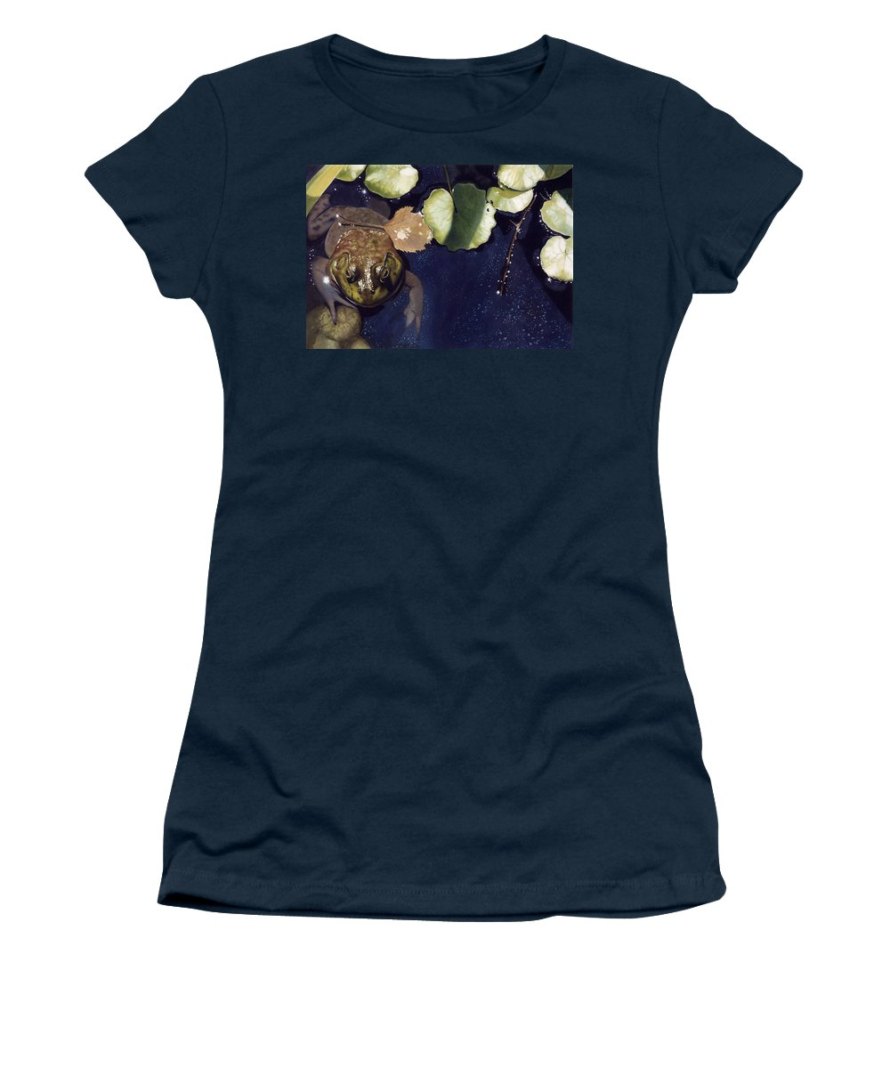 Frog Women's T-Shirt (Athletic Fit) featuring the painting Sunspots by Denny Bond