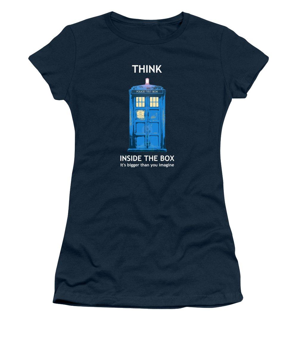 Richard Reeve Women's T-Shirt featuring the digital art Tardis - Think Inside the Box by Richard Reeve