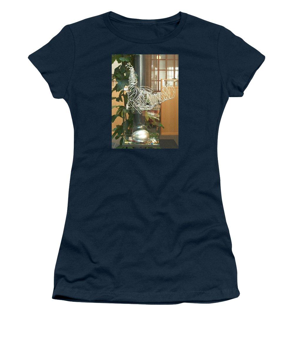Women's T-Shirt featuring the sculpture Techno Hen by Jarle Rosseland