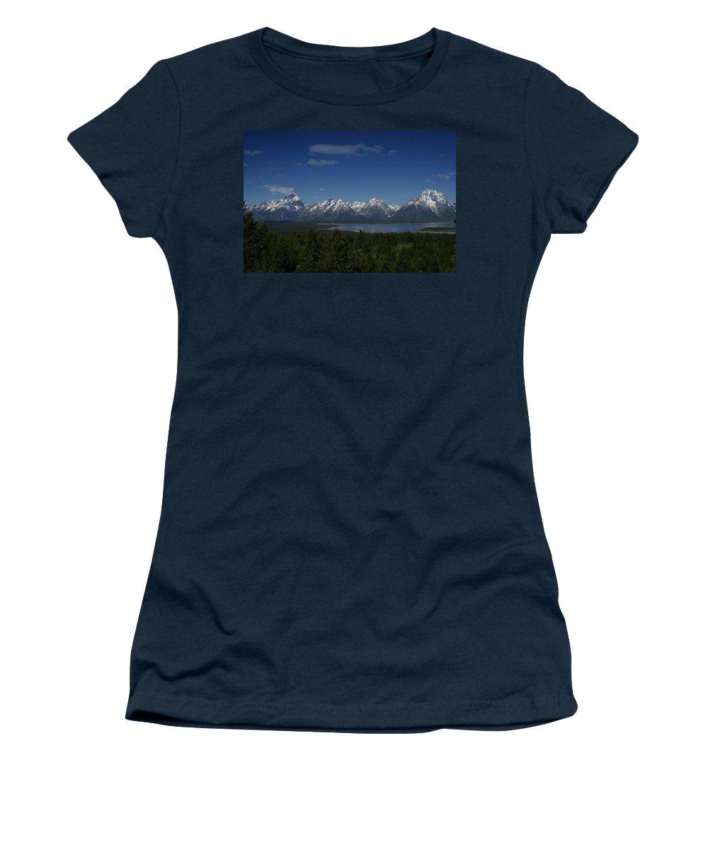 Mountains Women's T-Shirt featuring the photograph Tetons In Blue by Shari Jardina