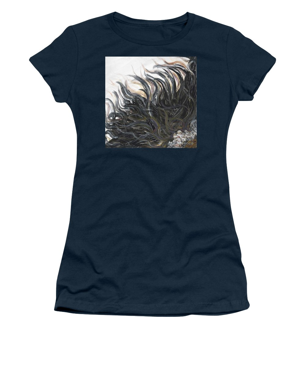 Texture Women's T-Shirt (Athletic Fit) featuring the painting Textured Black Sunflower by Nadine Rippelmeyer
