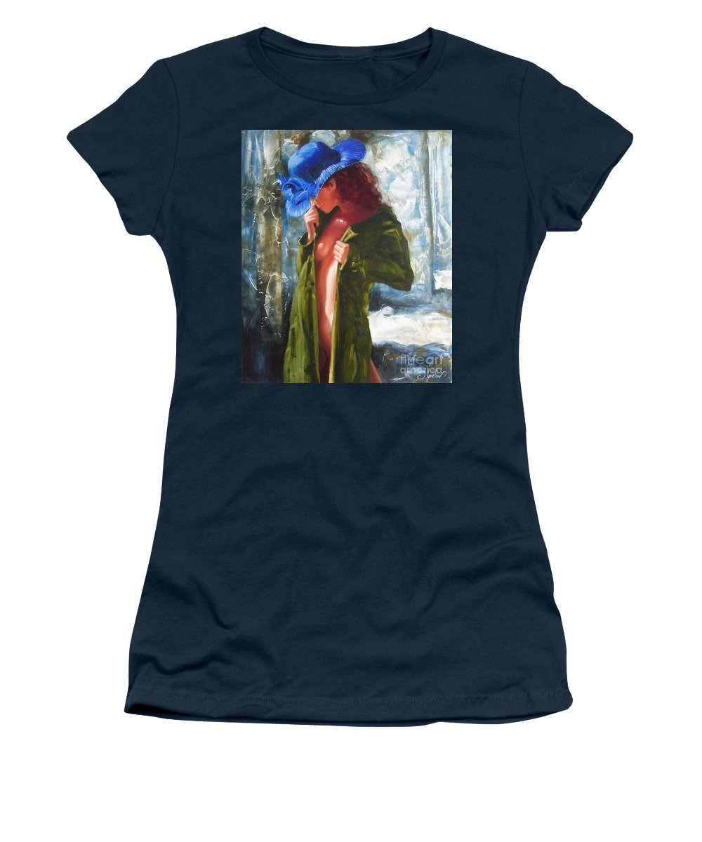 Art Women's T-Shirt (Athletic Fit) featuring the painting The Blue Hat by Sergey Ignatenko