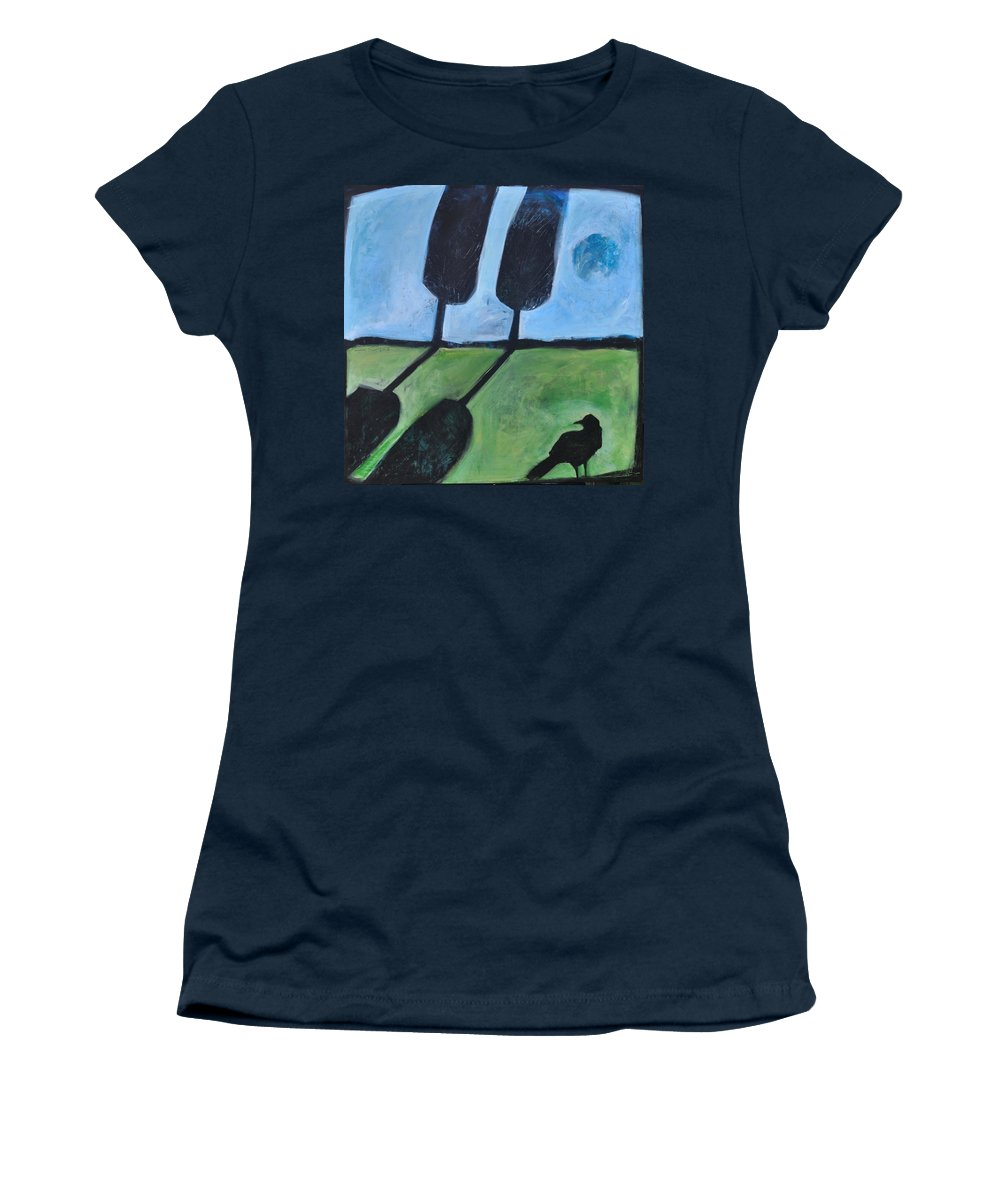 Bird Women's T-Shirt (Athletic Fit) featuring the painting The Casual Observer by Tim Nyberg