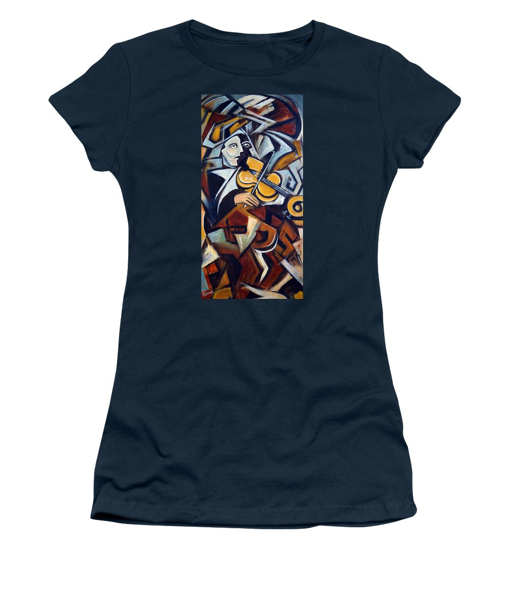 Musician Women's T-Shirt (Athletic Fit) featuring the painting The Fiddler by Valerie Vescovi