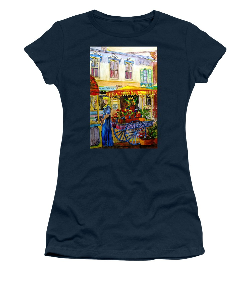 The Flowercart Women's T-Shirt (Athletic Fit) featuring the painting The Flowercart by Carole Spandau