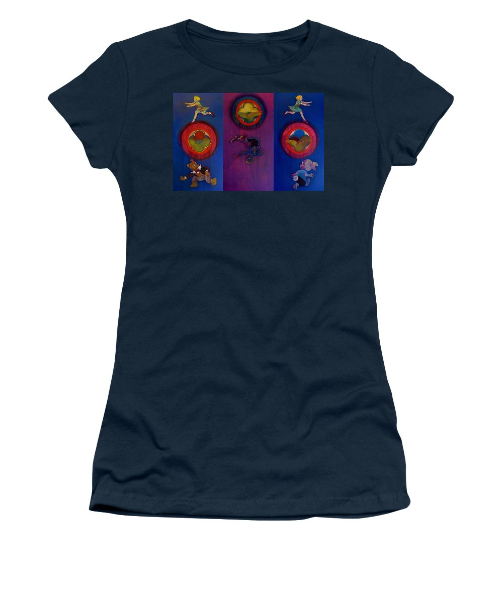 The Drums Of The Fruit Machine Stop At Random. Triptych Women's T-Shirt (Athletic Fit) featuring the painting The Fruit Machine Stops II by Charles Stuart