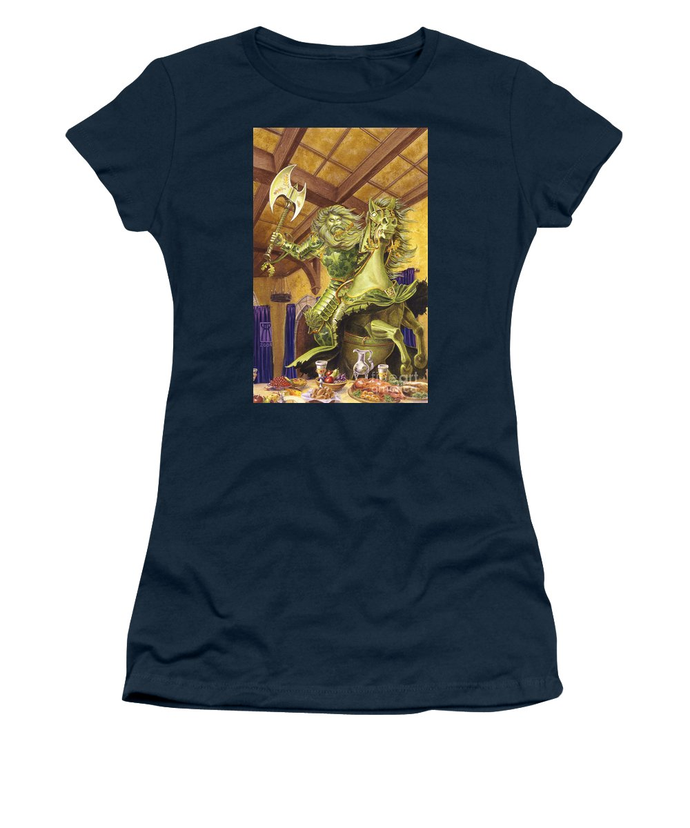 Fine Art Women's T-Shirt featuring the painting The Green Knight by Melissa A Benson
