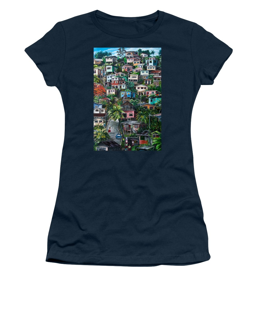 Landscape Painting Cityscape Painting Houses Painting Hill Painting Lavantille Port Of Spain Painting Trinidad And Tobago Painting Caribbean Painting Tropical Painting Caribbean Painting Original Painting Greeting Card Painting Women's T-Shirt featuring the painting THE HILL   Trinidad by Karin Dawn Kelshall- Best