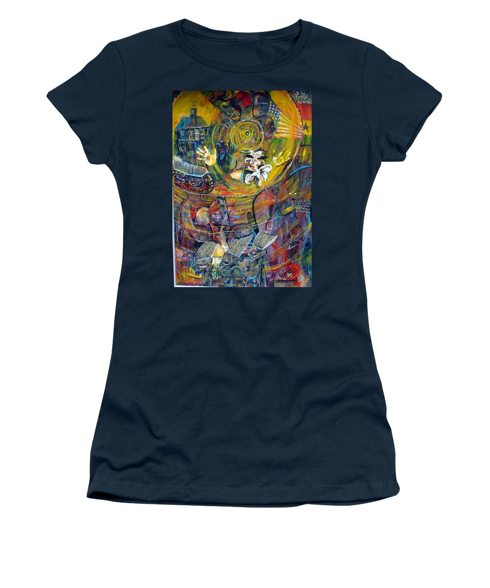 Figures Women's T-Shirt featuring the painting The Journey by Peggy Blood