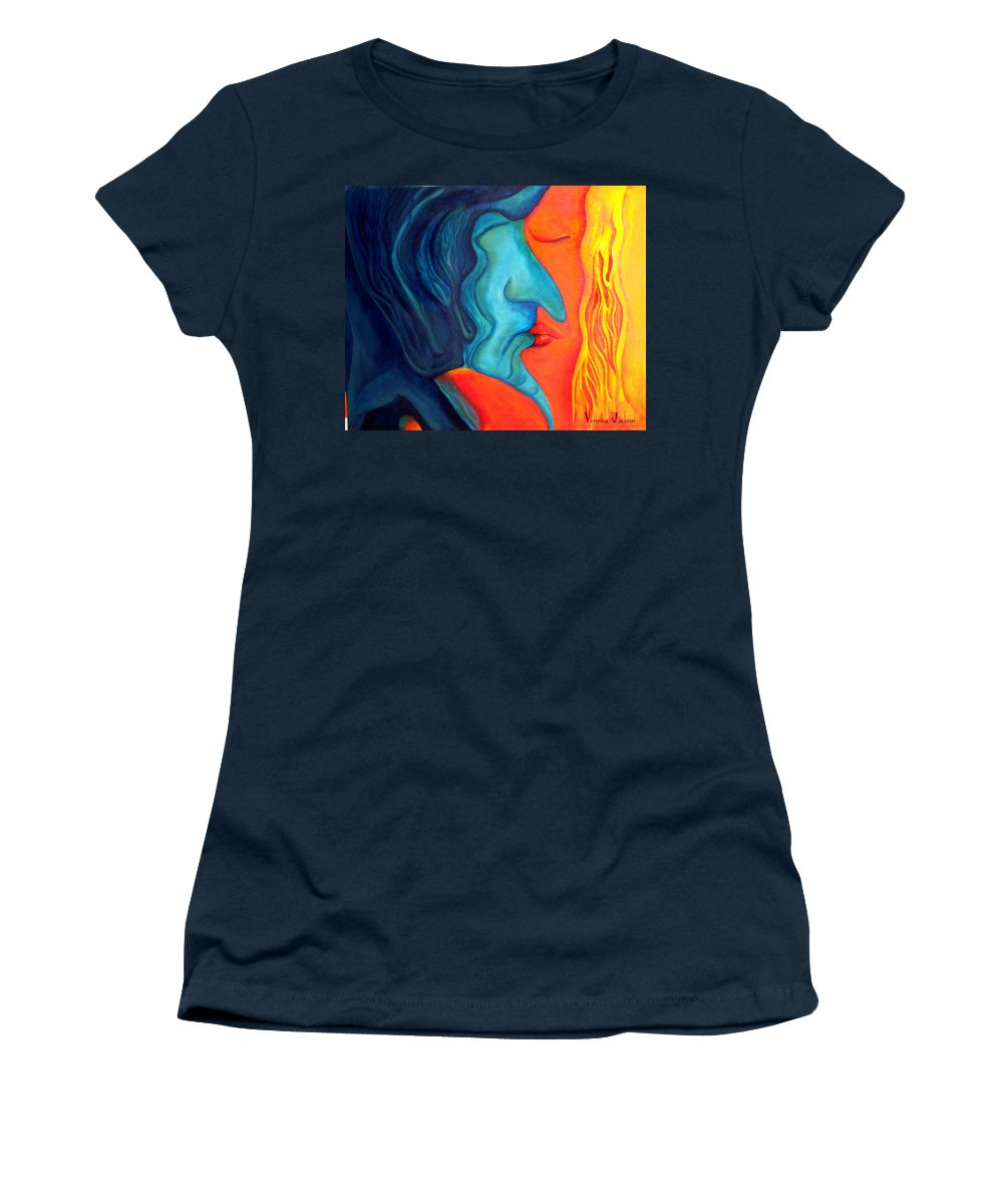Kiss Love Passion Couple Intensity Blue Orange Fire Lust Sex Women's T-Shirt (Athletic Fit) featuring the painting The Kiss by Veronica Jackson