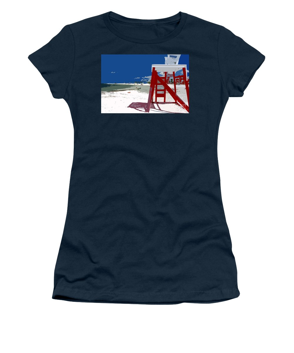 Lifeguard Stand Women's T-Shirt featuring the painting The Lifeguard Stand by David Lee Thompson