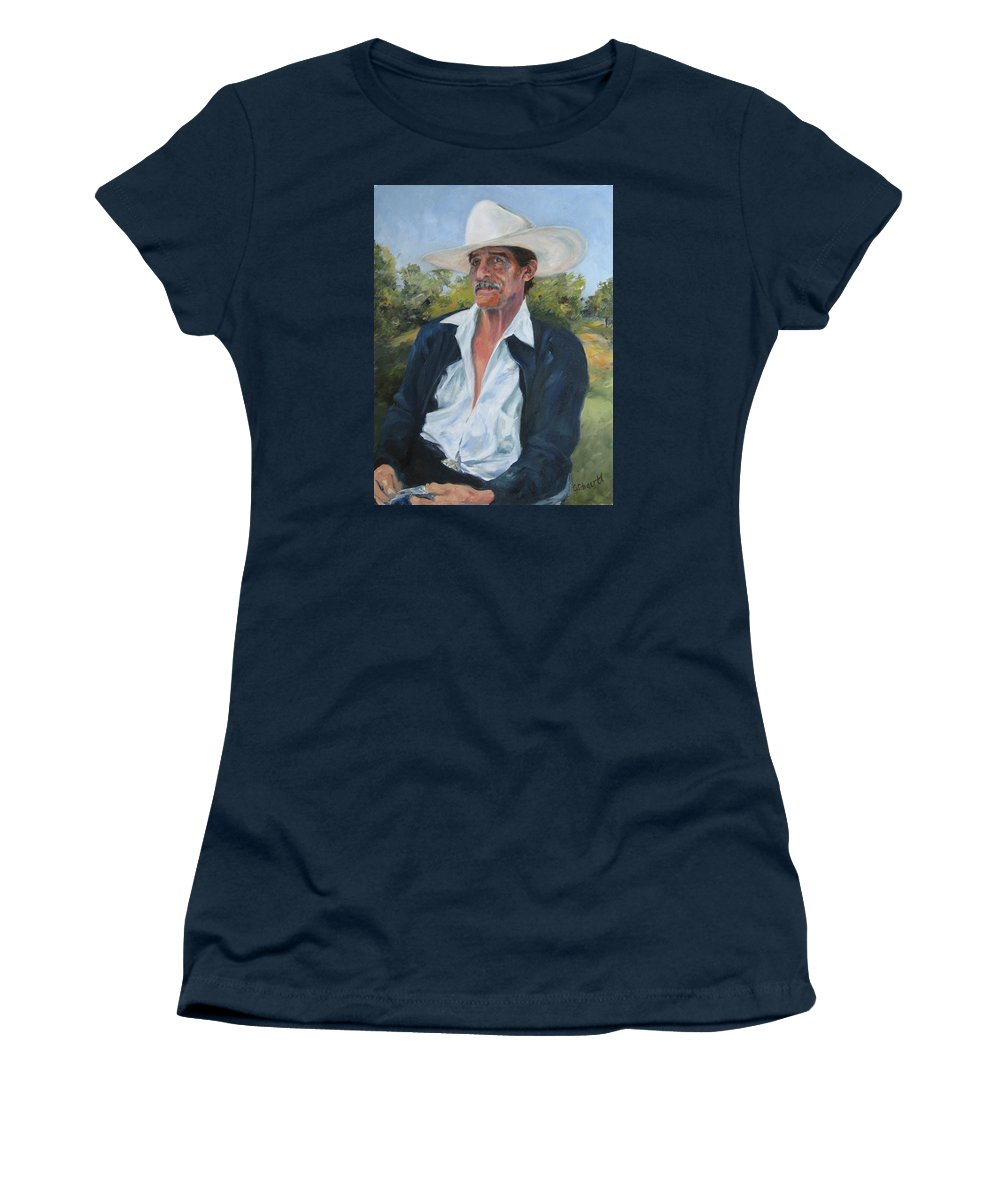 Portrait Women's T-Shirt (Athletic Fit) featuring the painting The Man From The Valley by Connie Schaertl