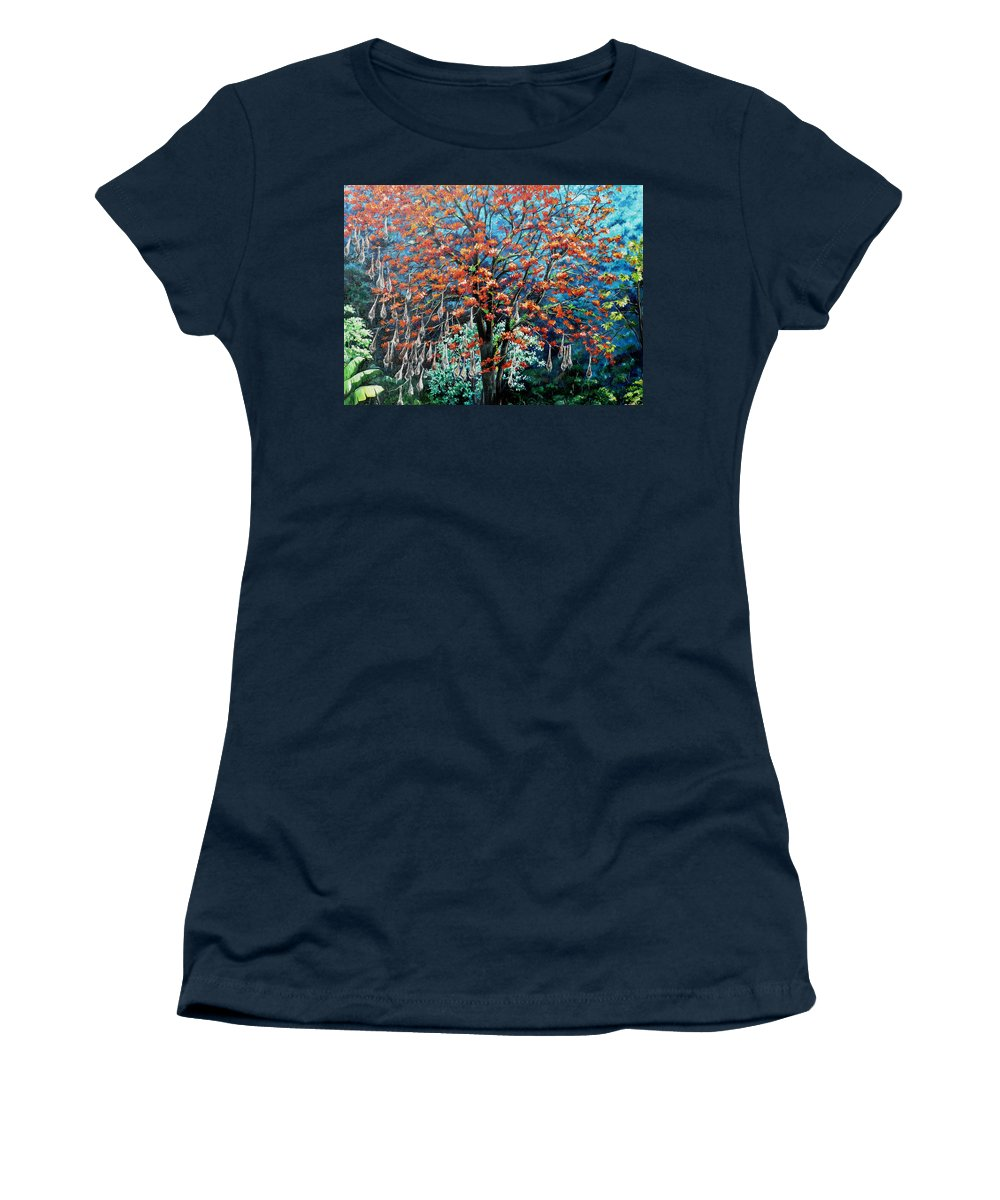 Tree Painting Mountain Painting Floral Painting Caribbean Painting Original Painting Of Immortelle Tree Painting  With Nesting Corn Oropendula Birds Painting In Northern Mountains Of Trinidad And Tobago Painting Women's T-Shirt featuring the painting The Mighty Immortelle by Karin Dawn Kelshall- Best
