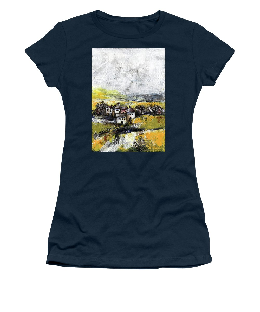 Landscape Women's T-Shirt featuring the painting The pink house by Aniko Hencz