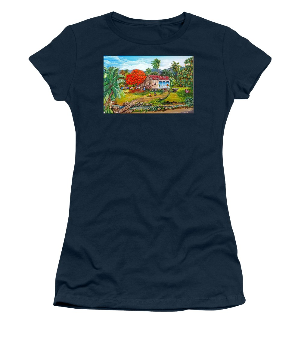 Tropical Scene Caribbean Scene Women's T-Shirt featuring the painting The Sweet Life by Karin Dawn Kelshall- Best