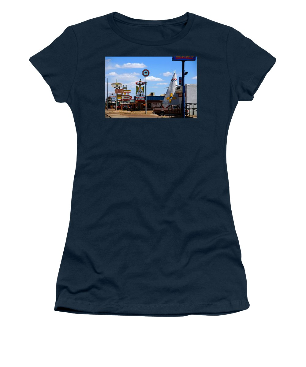 Tucumcari Women's T-Shirt featuring the photograph The Tee-pee Curios On Route 66 Nm by Susanne Van Hulst