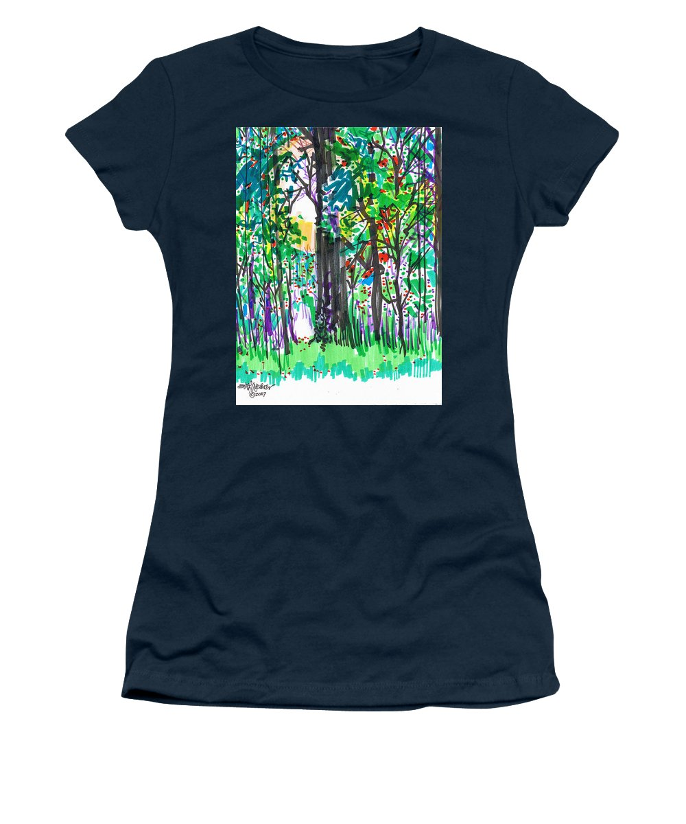 Forest Women's T-Shirt featuring the drawing Thicket by Seth Weaver