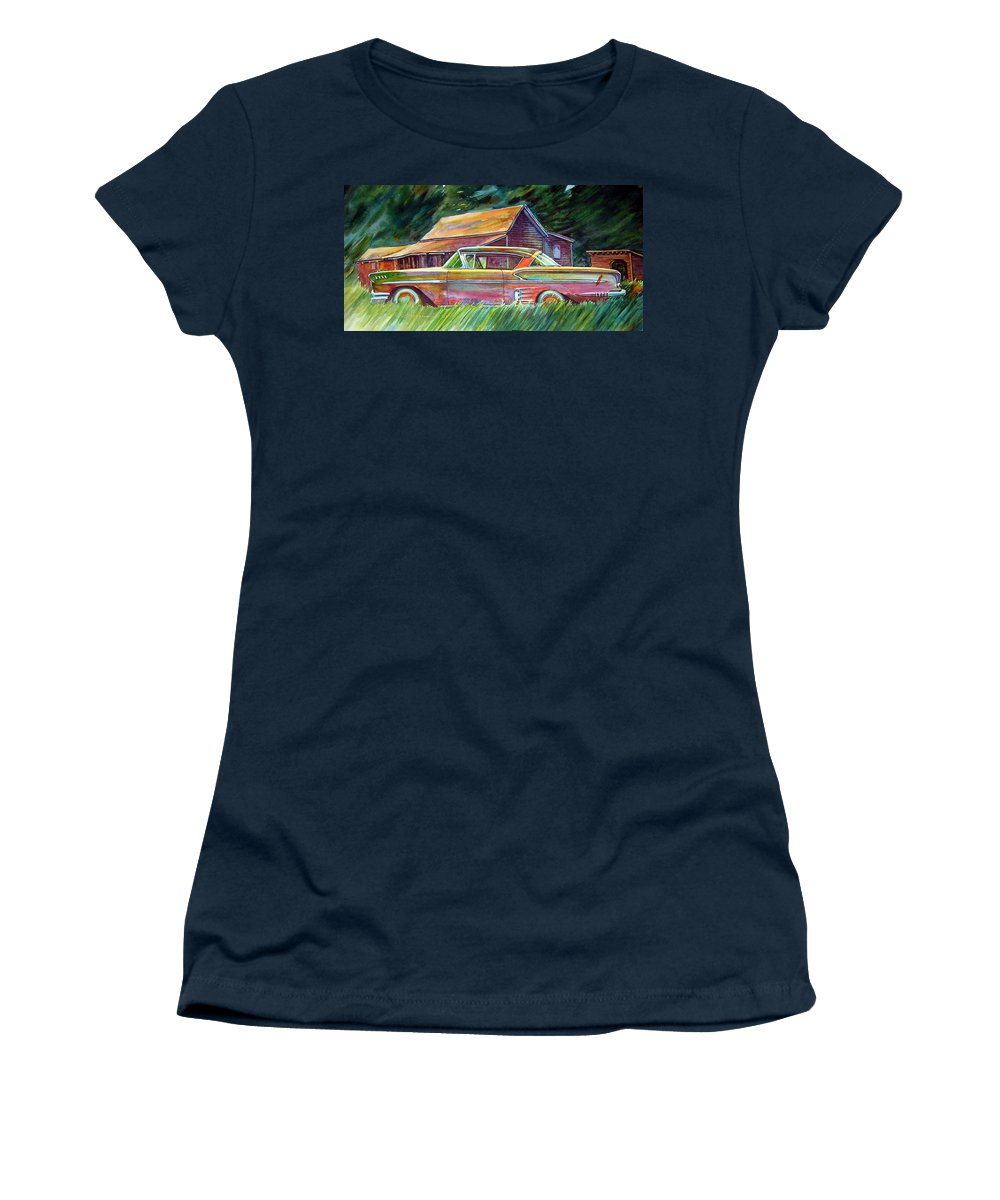 Rusty Car Chev Impala Women's T-Shirt featuring the painting This Impala Doesn by Ron Morrison