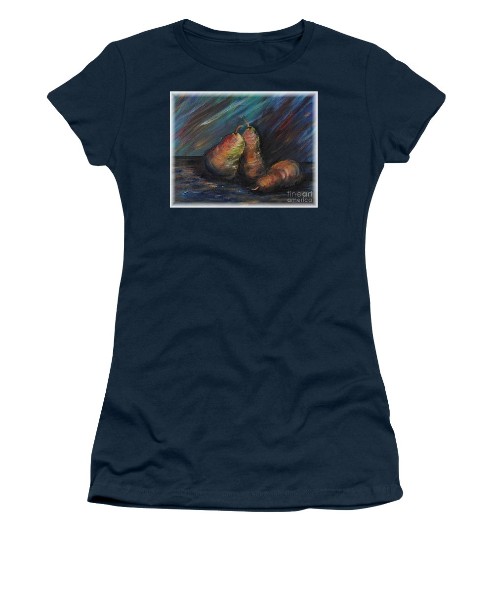 Pears Fruit Stilllife Blue Red Gold Orange Women's T-Shirt (Athletic Fit) featuring the painting Three Pears by Nadine Rippelmeyer