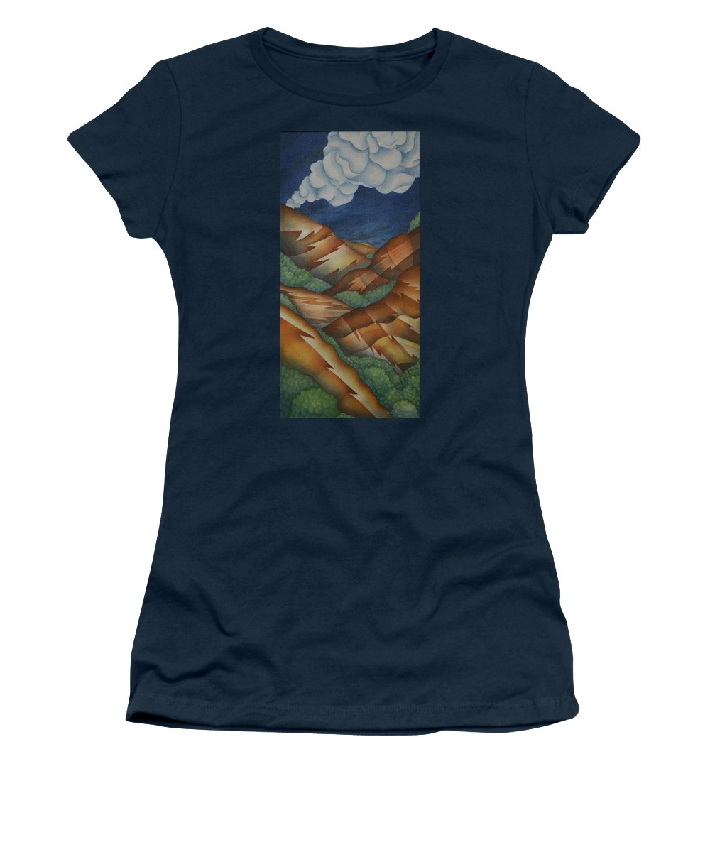 Mountains Women's T-Shirt featuring the painting Time To Seek Shelter by Jeniffer Stapher-Thomas