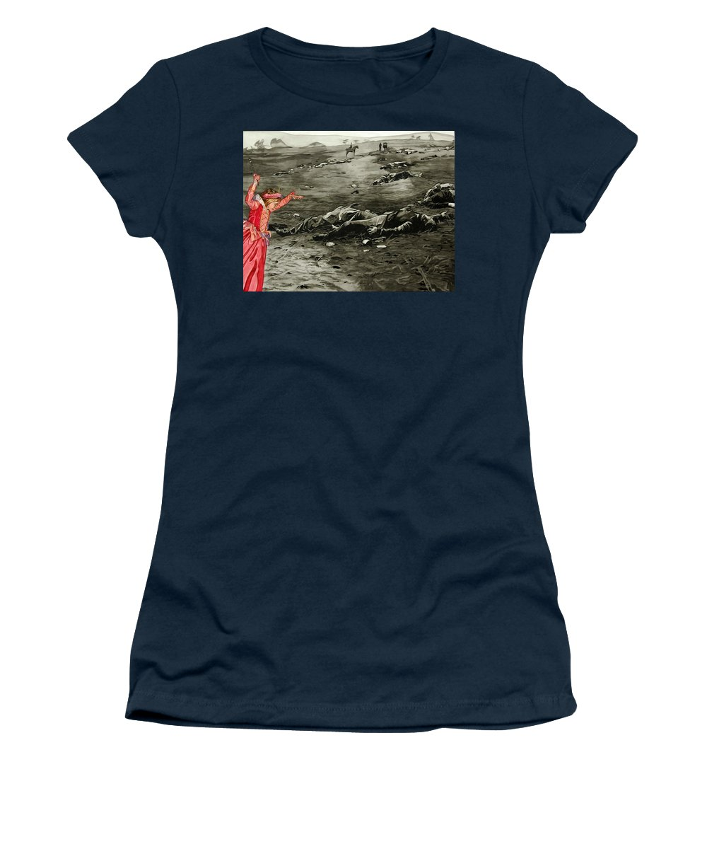 War Women's T-Shirt featuring the painting Too Late by Valerie Patterson