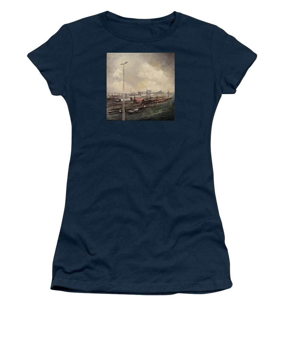 Train Women's T-Shirt featuring the painting Train station by Tomas Castano