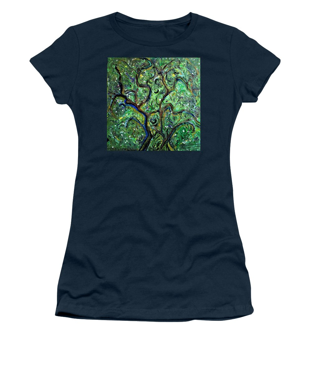 Green Women's T-Shirt featuring the painting Trees by Pam Roth O'Mara