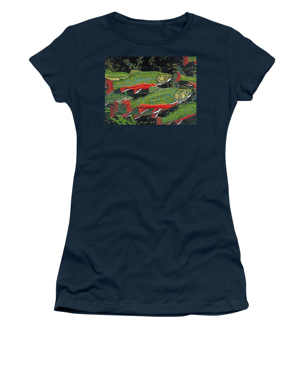 Art Women's T-Shirt (Athletic Fit) featuring the painting Trout Art Brook Trout Fish Artwork Giclee Wildlife Underwater by Baslee Troutman