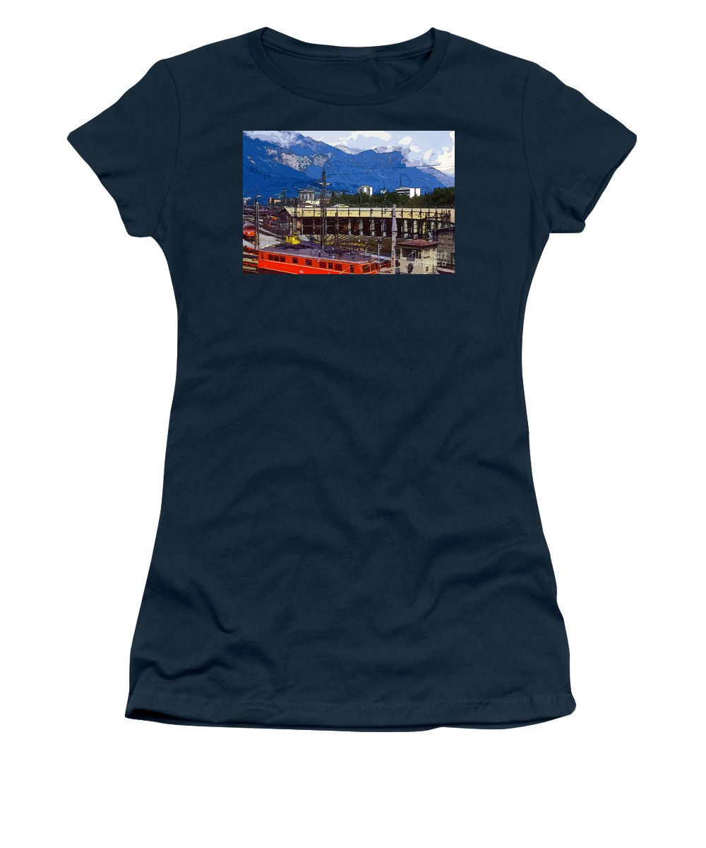 Innsbruck Austria Trains Train Turntable Turntable Station Stations Mountain City Cities Cityscape Cityscapes Landscape Landscapes Structure Structures Building Buildings Architecture Mountains Digital Art Women's T-Shirt featuring the photograph Turntable 4 by Bob Phillips