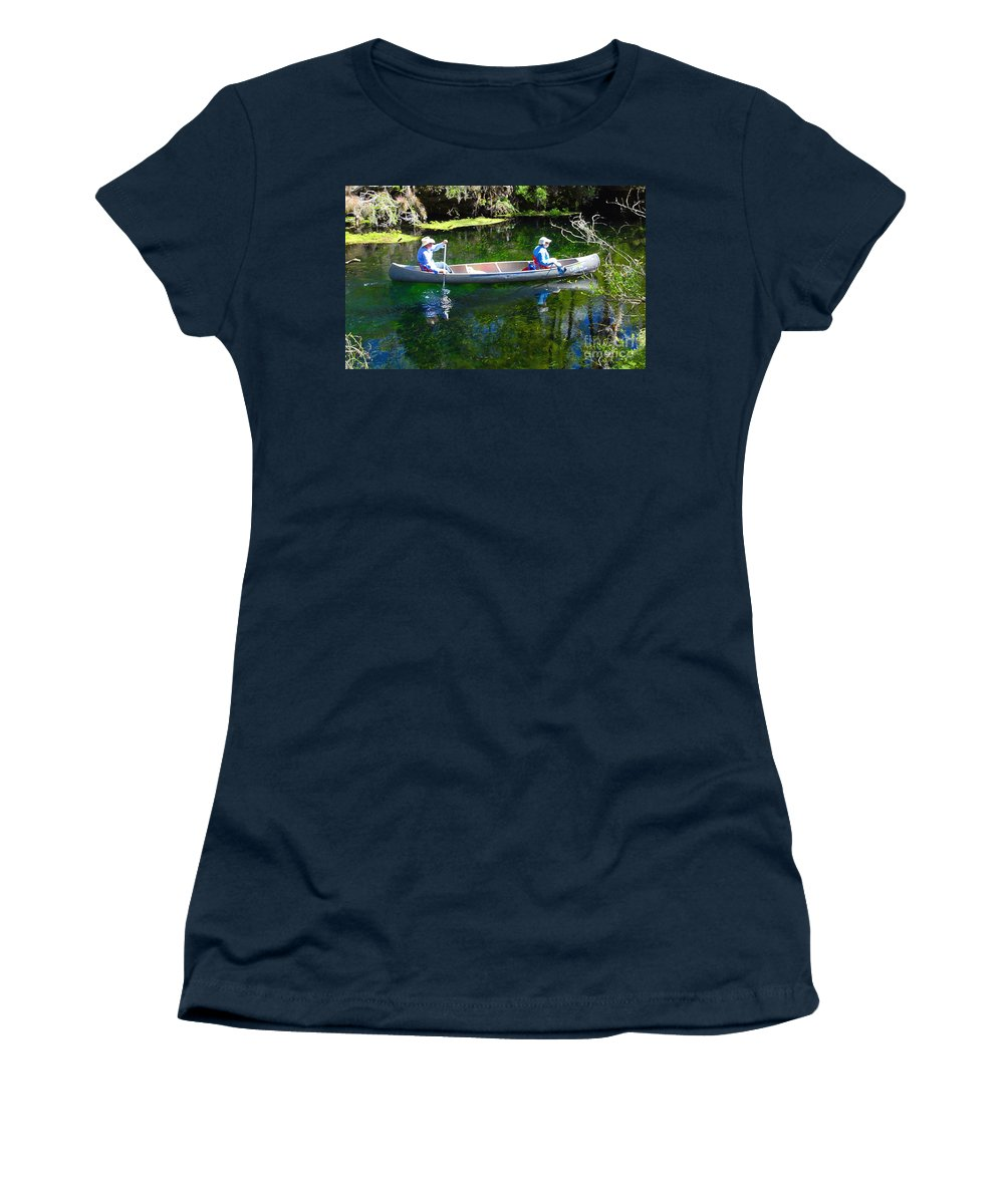 Canoe Women's T-Shirt (Athletic Fit) featuring the photograph Two In A Canoe by David Lee Thompson