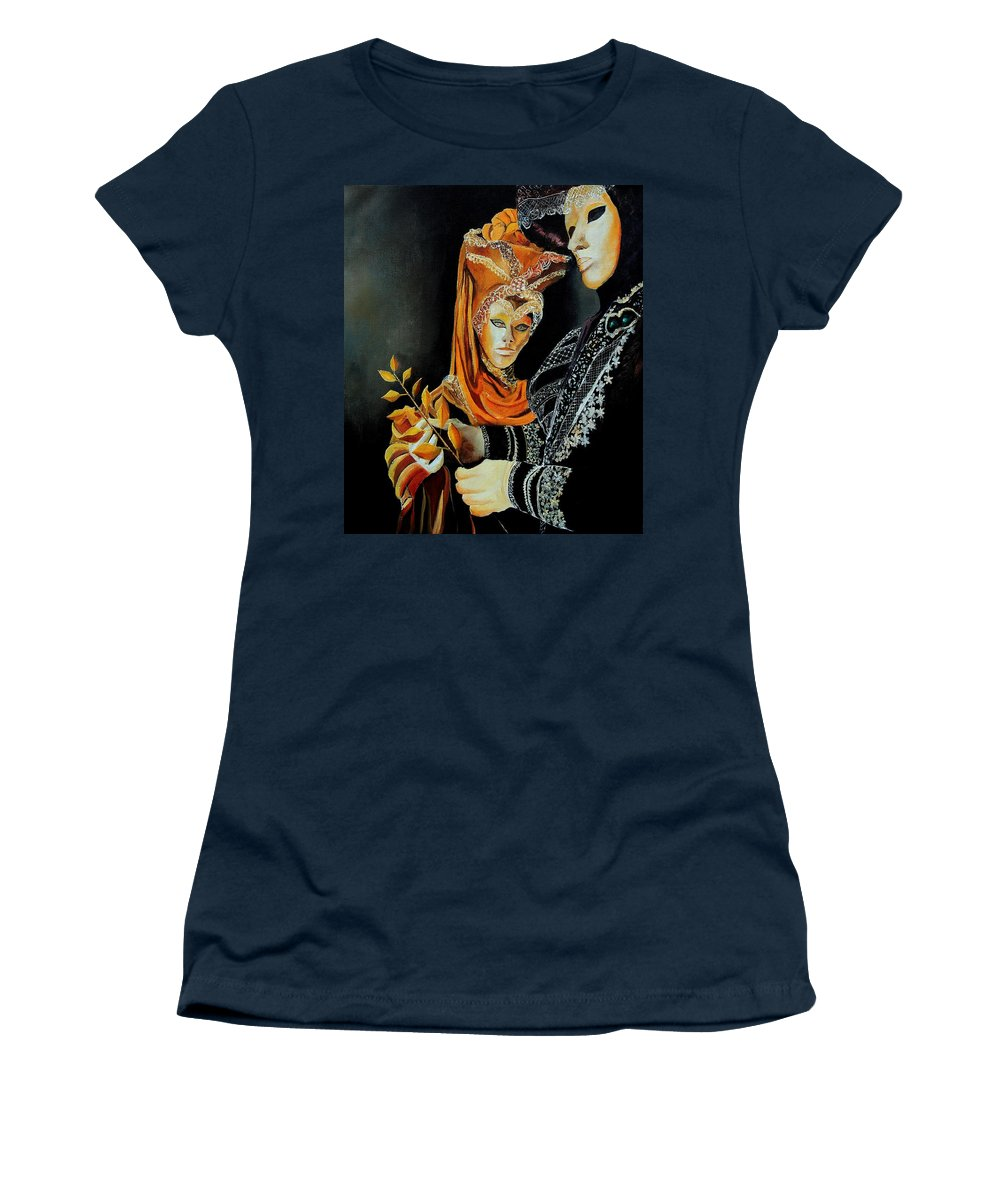 Mask Venice Carnavail Italy Women's T-Shirt (Athletic Fit) featuring the painting Two Masks In Venice by Pol Ledent