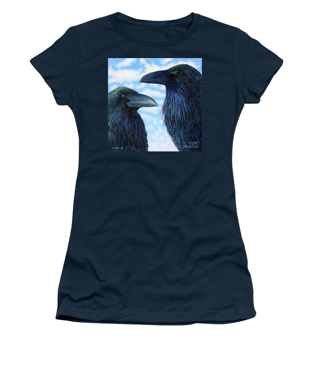 Raven Women's T-Shirt featuring the painting Two Ravens by Brian Commerford