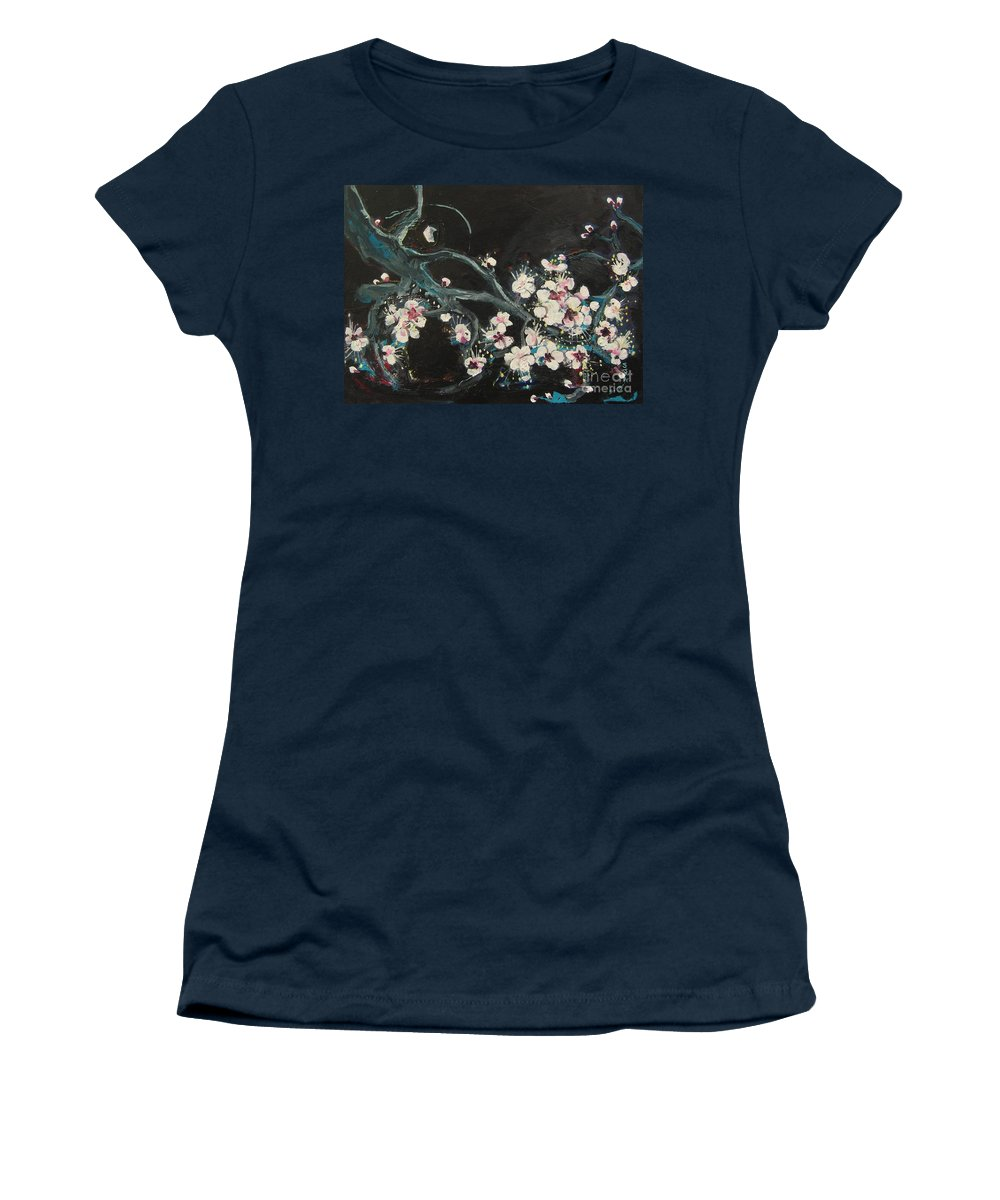 Ume Blossoms Paintings Women's T-Shirt (Athletic Fit) featuring the painting Ume Blossoms2 by Seon-Jeong Kim