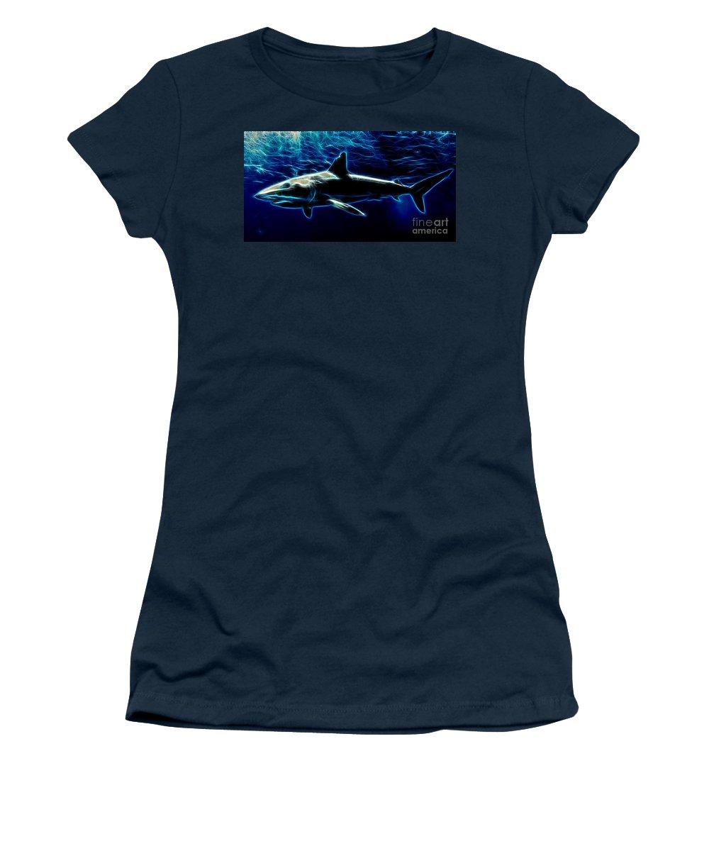 Shark Women's T-Shirt featuring the digital art Under Blue Sea by Drazen Kirchmayer