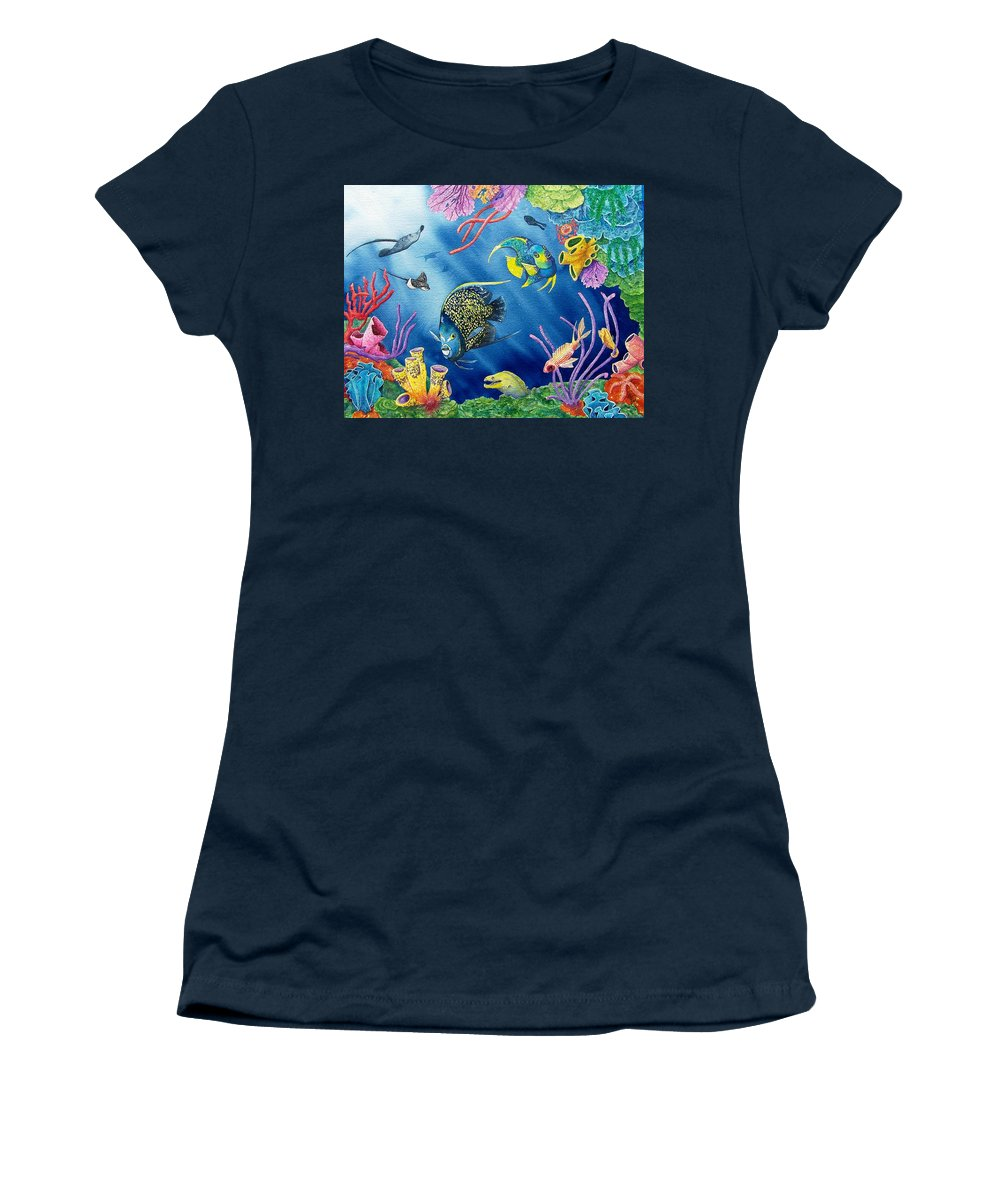 Undersea Women's T-Shirt (Athletic Fit) featuring the painting Undersea Garden by Gale Cochran-Smith