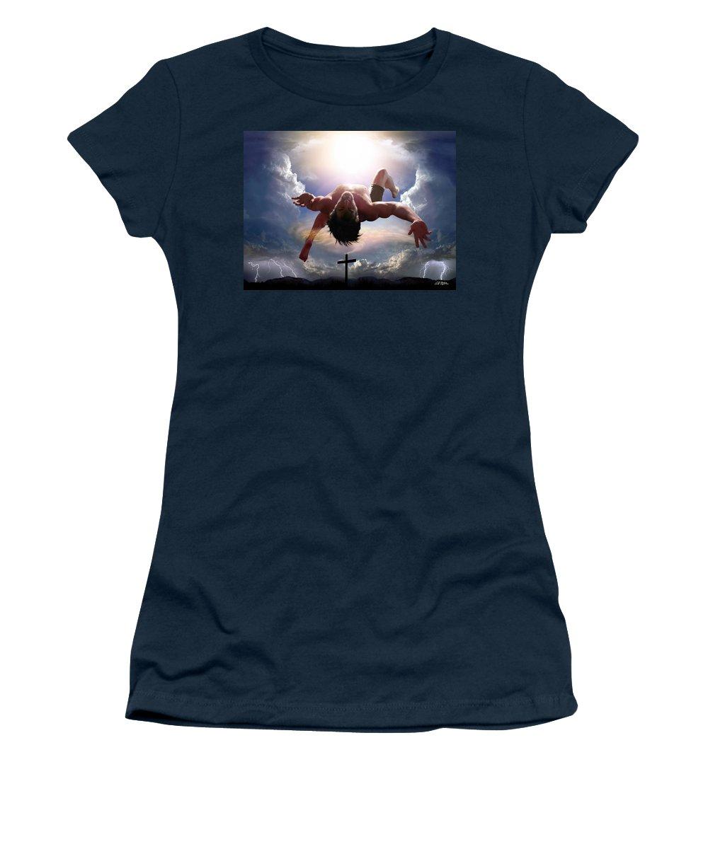 Self Portrait Women's T-Shirt featuring the digital art Upheld By Grace by Bill Stephens