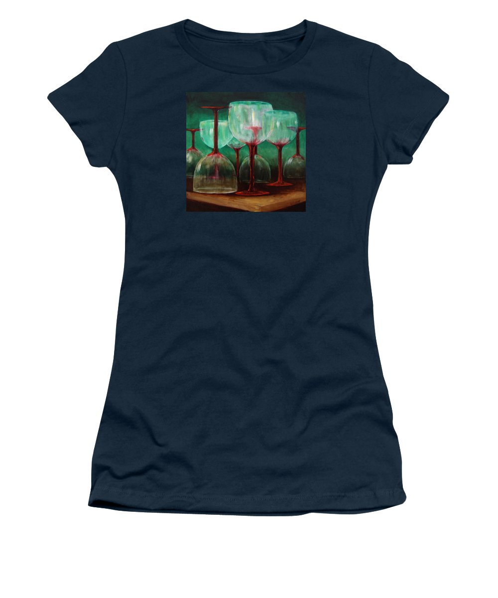 Oil Women's T-Shirt (Athletic Fit) featuring the painting Upsidedown by Linda Hiller