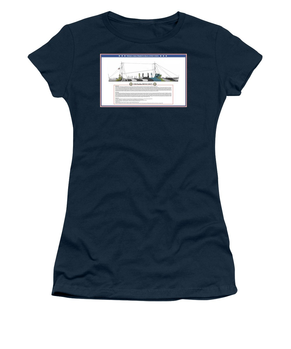 Destroyer Women's T-Shirt featuring the painting USS Fairfax DD 93 by The Collectioner