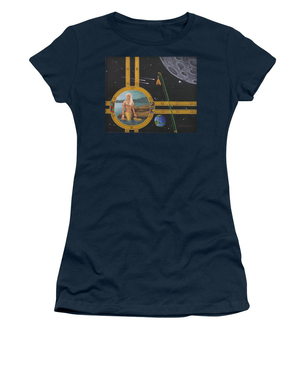 Fantasy Women's T-Shirt featuring the painting Vacation Fishing For Mermaids by Roz Eve