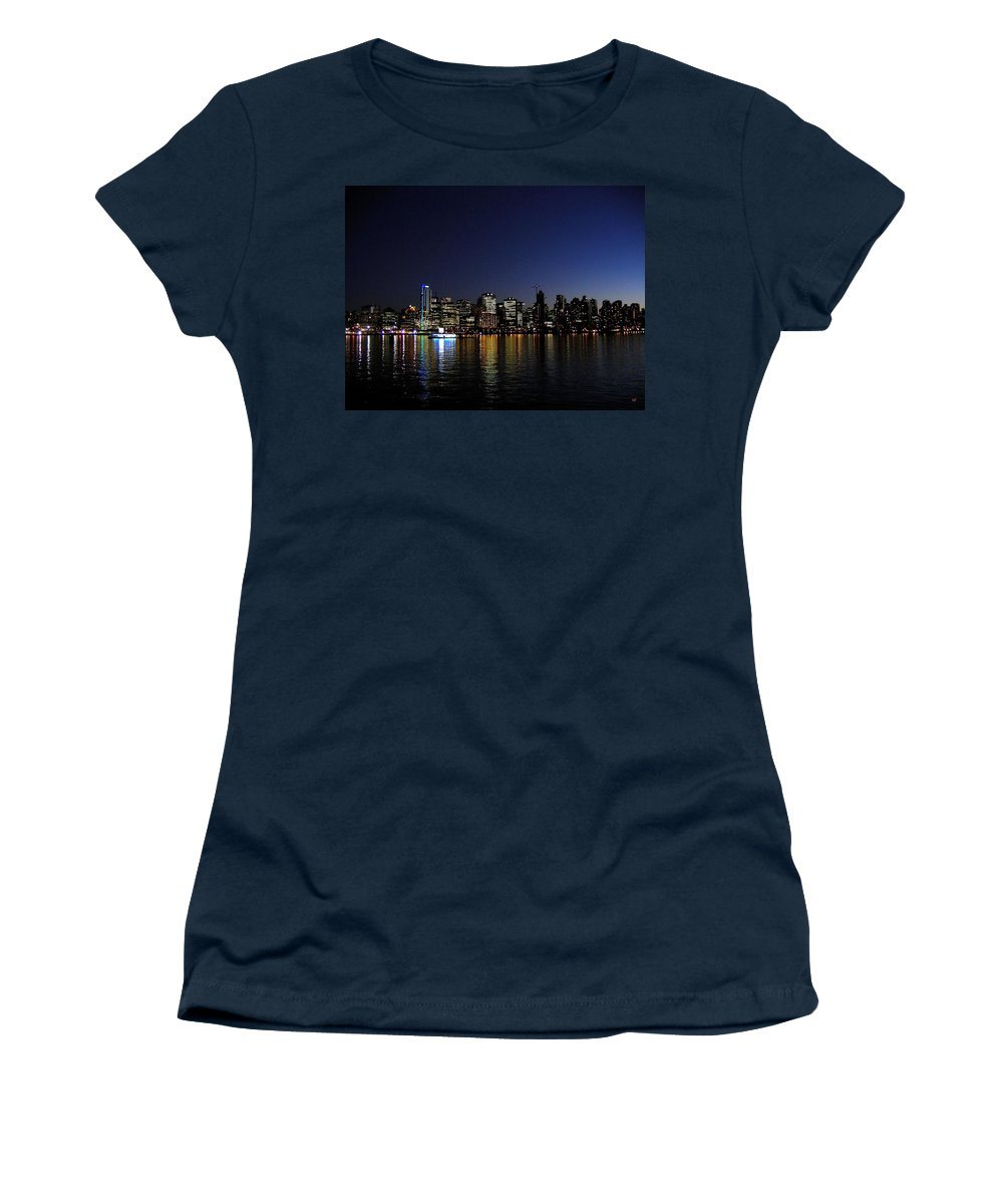 Night Scape Women's T-Shirt featuring the photograph Vancouver Night Lights by Will Borden